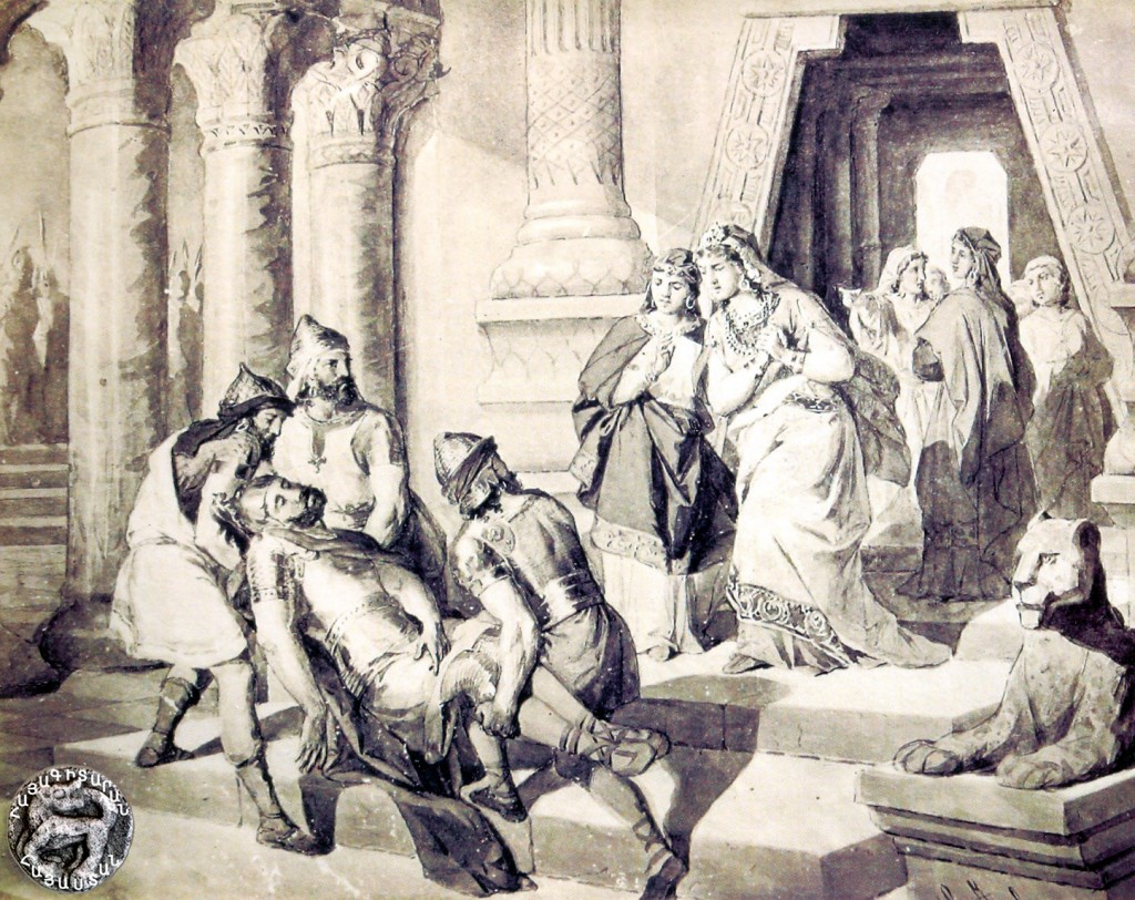 Արա Գեղեցիկ և Շամիրամ by Italian artist Juliano Zasso (1833-1889) Ara Geghetsik dead body brought to Shamiram...