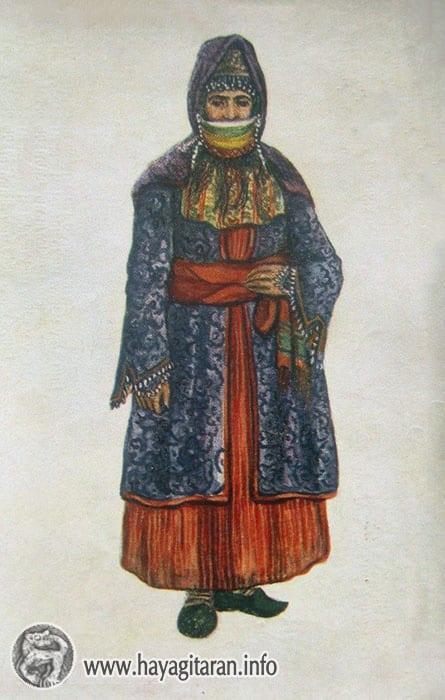 Ագուլիս․ կնոջ տարազ, 19-րդ դ․ , Նկ․ Ֆ․ ԳրիգորյանAgulis . Woman's Costume․ 19th century , Paintet by F. Grigorian