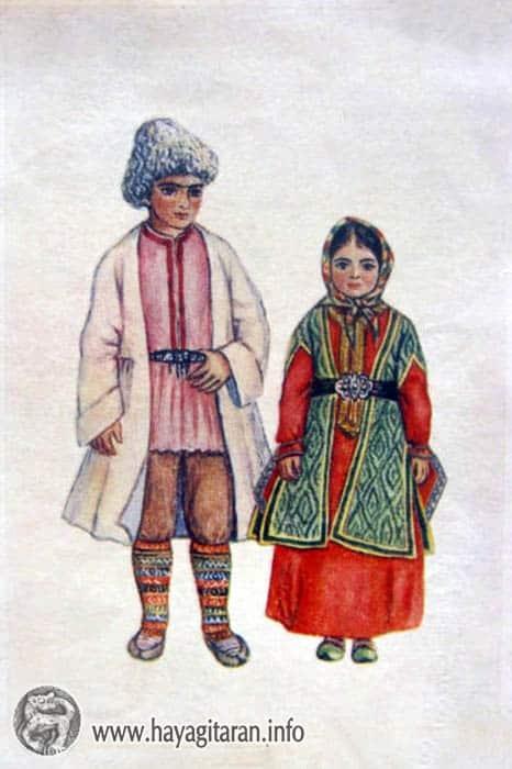 Լոռեցի տղայի և Արցախցի աղջկա ամենօրյա տարազ , 19-րդ դ․ , Նկ․ Ֆ․ Գրիգորյան - ՀԱՅԿԱԿԱՆ ՏԱՐԱԶՆԵՐ - Armenian Traditional Costume (Taraz)