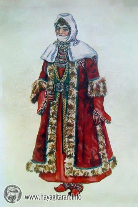 Արցախ․ կնոջ ձմեռային տարազ 19-րդ դ․ , Նկ․ Ֆ․ ԳրիգորյանArtsakh․ winter costume of a woman 19th century , Paintet by F. Grigorian