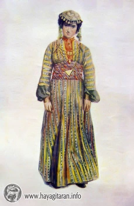 Կարնոհայ նորահարսի տարազ, 19-րդ դ․ , Վ․ ՍուրենյանցKarin. bride's costume 19th century , Paintet by V. Sureniants