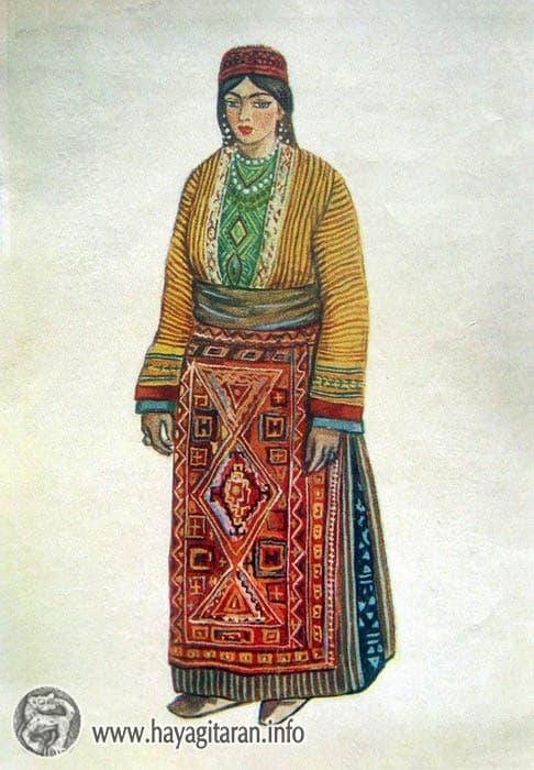 Մշեցի աղջկա տարազ, 19-րդ դ․ , Նկ․ Ֆ․ Գրիգորյան Mush. Girl's Costume 19th century , Paintet by F. Grigorian - ՀԱՅԿԱԿԱՆ ՏԱՐԱԶՆԵՐ - Armenian Traditional Costume (Taraz)