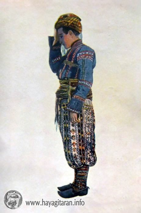 Սասուն․ տղայի տարազ , 19-րդ դ․, Նկ Վ․ ՍուրենյանցSasun Boy's Costume 19th century , Paintet by V. Sureniants