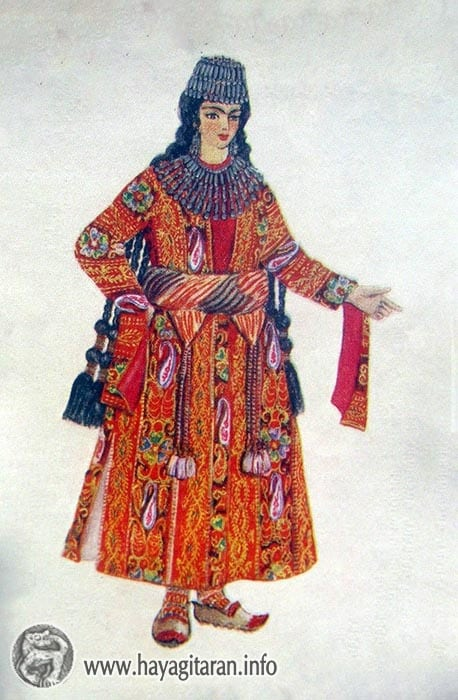Շատախցի աղջկա տարազ , 19-րդ դ․ , Նկ․ Ֆ․ Գրիգորյան  Shatakh. girl's costume 19th century , Paintet by F. Grigorian