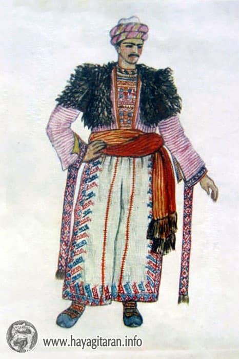 Շատախցի տղամարդու տարազ, 20-րդ դ․ , Նկ․ Ֆ․ ԳրիգորյանShatakh Man's Costume 20th century , Paintet by F. Grigorian