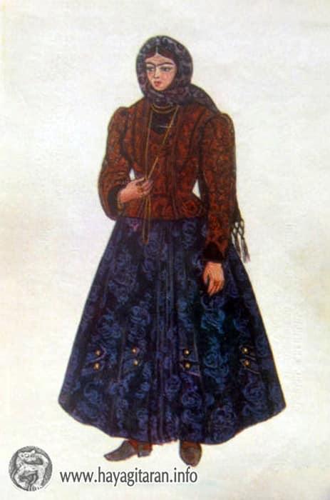 Վանի քաղաքային տարազ, 20-րդ դ․ , Նկ․ Ֆ․ Գրիգորյան  The Costume Worn by a citizen of Van 20th century , Paintet by F. Grigorian