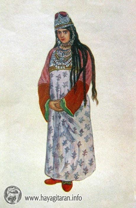 Վասպուրական․ կնոջ տարազ 20-րդ դ․ , Նկ․ Ա․ ՖեթվաճյանVaspurakan Woman's Costume 20th century , Paintet by A. Fetvachian
