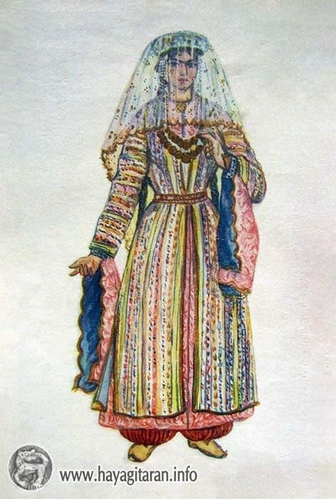 Բարձր Հայք․ հարսանեկան տարազ, 19-րդ դ․ , Նկ․ Ֆ․ Գրիգորյան Wedding costume. 19th century , Paintet by F. Grigorian - ՀԱՅԿԱԿԱՆ ՏԱՐԱԶՆԵՐ - Armenian Traditional Costume (Taraz)