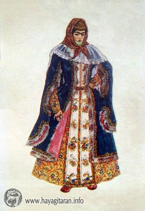 Երևան․ տոնական տարազ, 19-րդ դ․ , Նկ․ Ֆ․ ԳրիգորյանYerevan. Costume for Holiday Wear 19th century , Paintet by F. Grigorian