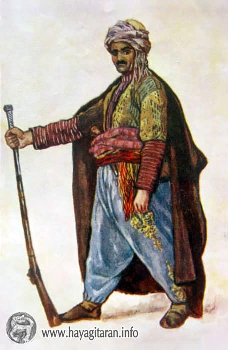 Զեյթուն․ տղամարդու տարազ , 19-րդ դ․ , Նկ․ Ե․ ԼանսերեZeytun Men's Costume 19th century , Paintet by E. Lansere