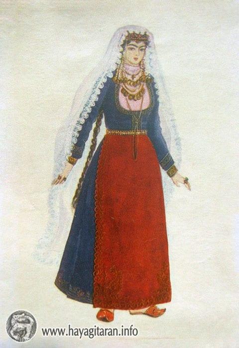Ախալցխա․ հայ կնոջ տարազ 19-րդ դ․ , Նկ․ Ֆ․ ԳրիգորյանAkhaltsikhe․ Woman's Costume․ 19th century , Paintet by F. Grigorian