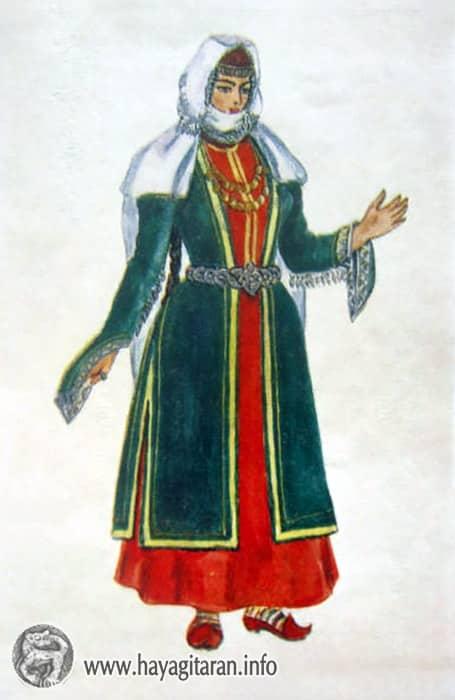Սյունիք - Զանգեզուր ․ ամենօրյա տարազ , 18-րդ դ․ , Նկ․ Ֆ․ ԳրիգորյանSunik - Zangezur Costume of Everyday Wear 18th century , Paintet by F. Grigorian