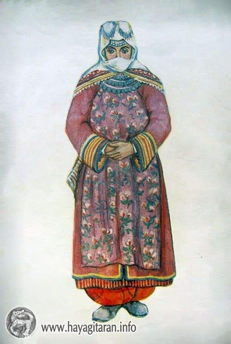 Վասպուրական ( Թիմար գ․ ) ամենօրյա տարազ , 19-րդ դ․ , Նկ․ Վ․ ԱխիկյանVaspurakan ( the village of Timar ) 19th century , Paintet by V. Akhikian