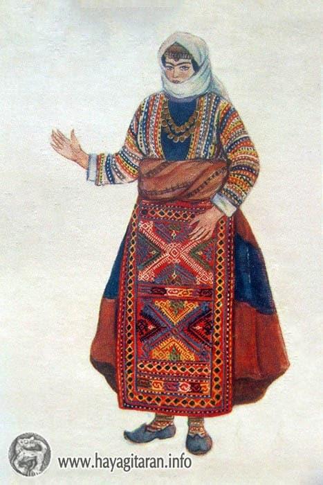 Վասպուրական ( Այլուր գ․ ) կնոջ տարազ , 19-րդ դ․ , Նկ․ Ֆ․ ԳրիգորյանVaspurakan ( the village of Aliur ) Woman's Costume 19th century , Paintet by F. Grigorian