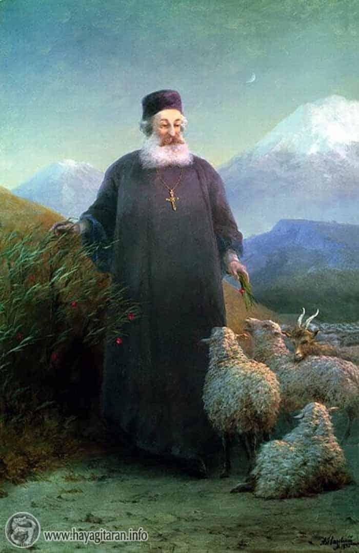 Մկրտիչ Ա Վանեցին (Խրիմյան Հայրիկ) Էջմիածնի մոտ։ Հ. Այվազովսկի 1885թ Հայ Ծովանկարիչ (Հուլիսի (17) 29, 1817 - մայիսի 5, 1900) / Mkrtich A Vaneci Khrimyan Hayrik Ejmiatsin